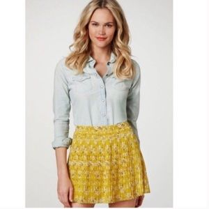 American Eagle Yellow Floral Pleated Mini Skirt